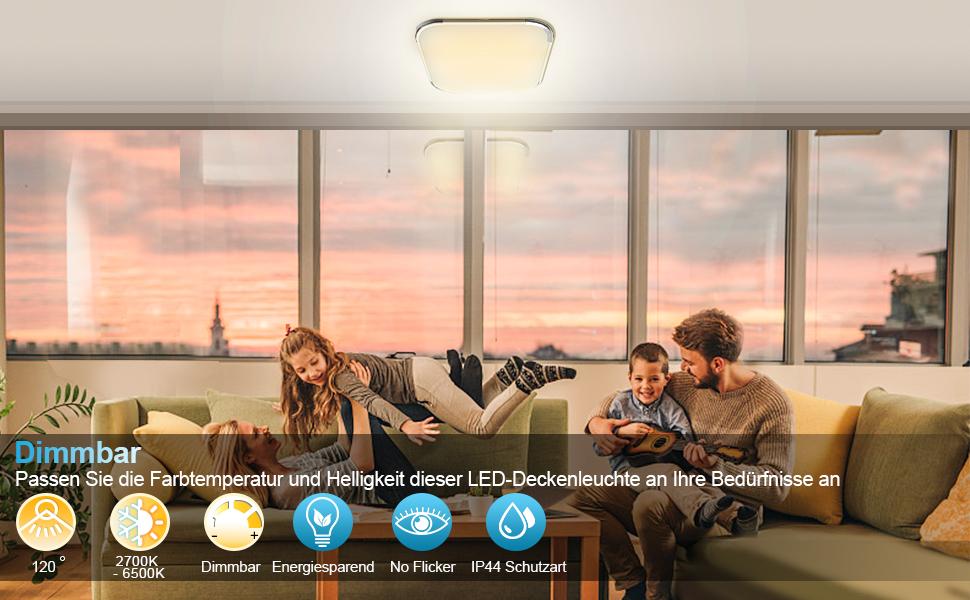 Hengda Led Deckenleuchte Dimmbar 3240lm Flurlampe Wohnzimmerlampe Ersatz 200w Glühlampe 6500k Küchenleuchte Bürodeckenleuchte 36w Schutzart Ip44 Beleuchtung
