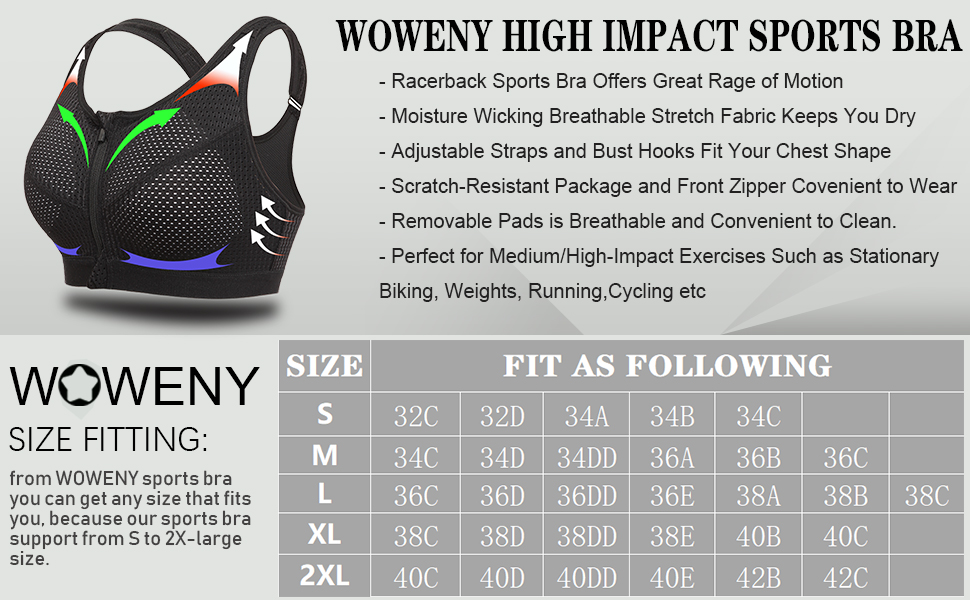 WOWENY Zip Front High Impact Support Sports Bra for Women ...