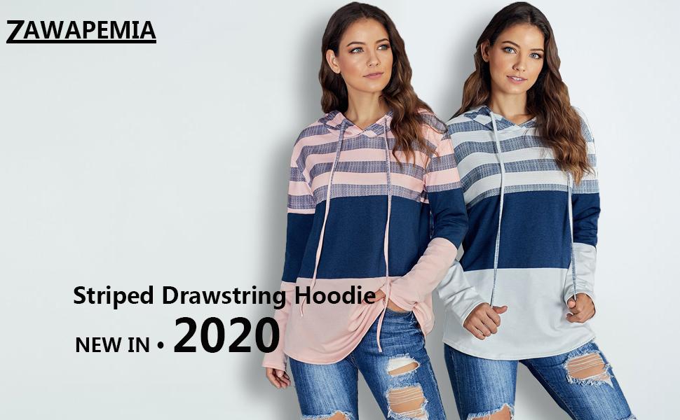 Womens Long Sleeve Drawstring Sweatshirts Color Block Striped Hoodies