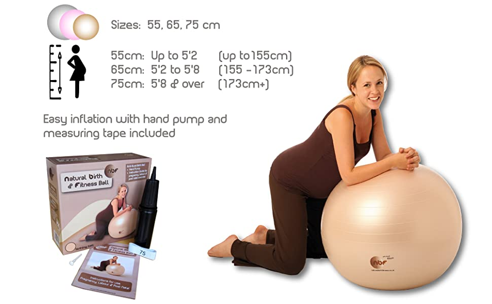 Size guide for birthing balls by height, pump, measuring tape