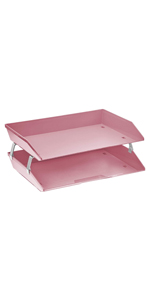 acrimet facility letter tray 2 tier side load solid pink color