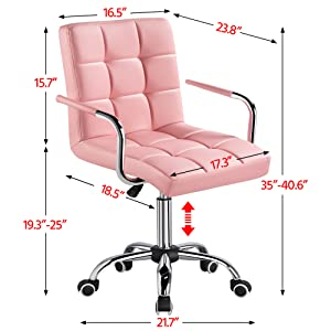 size - YAHEETECH Desk Chairs With Wheels/Armrests Modern PU Leather Office Chair Height Adjustable Home Computer Executive Chair On Wheels 360° Swivel - Pink