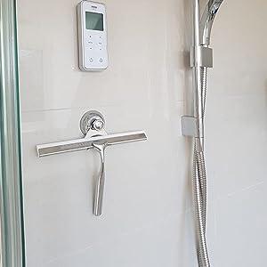 Zindoo Limpiacristales Ducha baño y Ducha Borrador Acero Inoxidable Limpiacristales con Colgador de Pared Baño Borrador +1 Cuchilla de Silicona de Repuesto + 1 Gancho 25x17 cm (LxW): Amazon.es: Hogar