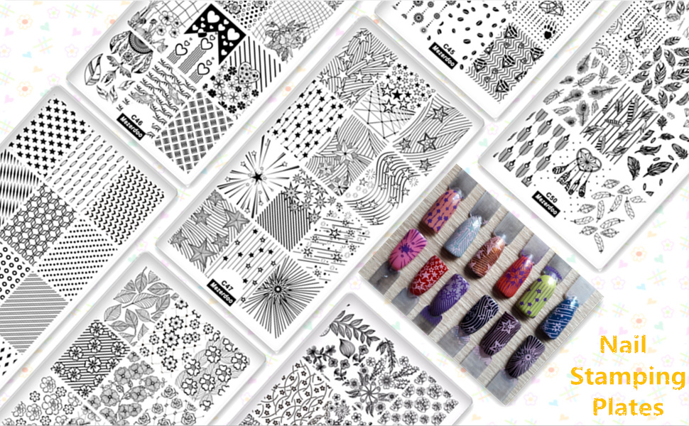 7Pcs Nail Art Stamping Template Set Flower Lace Flowers Feather Love Design  Print Image Plates