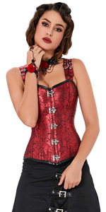 Red Steampunk Overbust Corset Vest