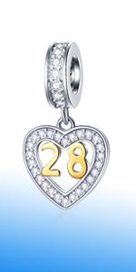 EMOSTAR 16,18,20,21,25,28,30,40,45,50,60 Birthday Charms fit European Bracelet
