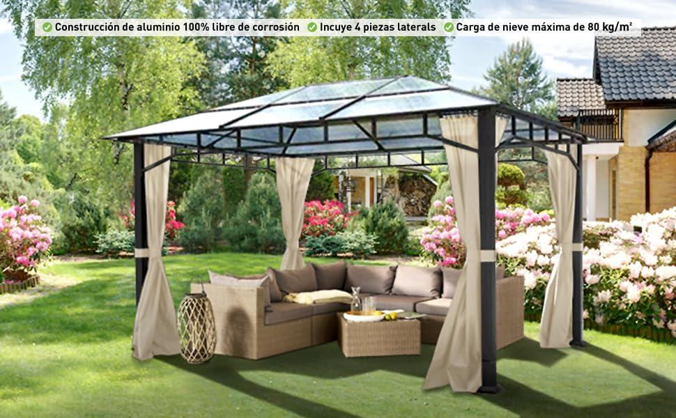 TOOLPORT Cenador de jardín 3x4 m Aluminio Techo de policarbonato 8mm cenador de jardín 4 Cortinas Laterales Color champaña: Amazon.es: Jardín