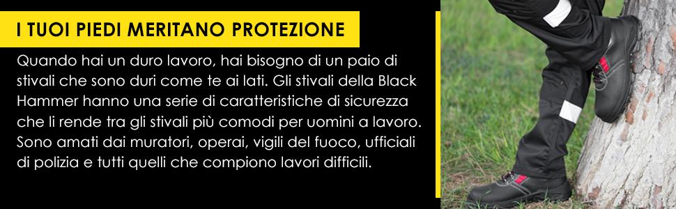 Scarpe Black Hammer di Sicurezza per uomo con punte in acciaio e suole intermedie protettive