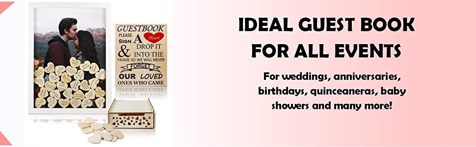 Ideal guest book for all events. For weddings, anniversaries, birthdays, baby showers, quinceaneras