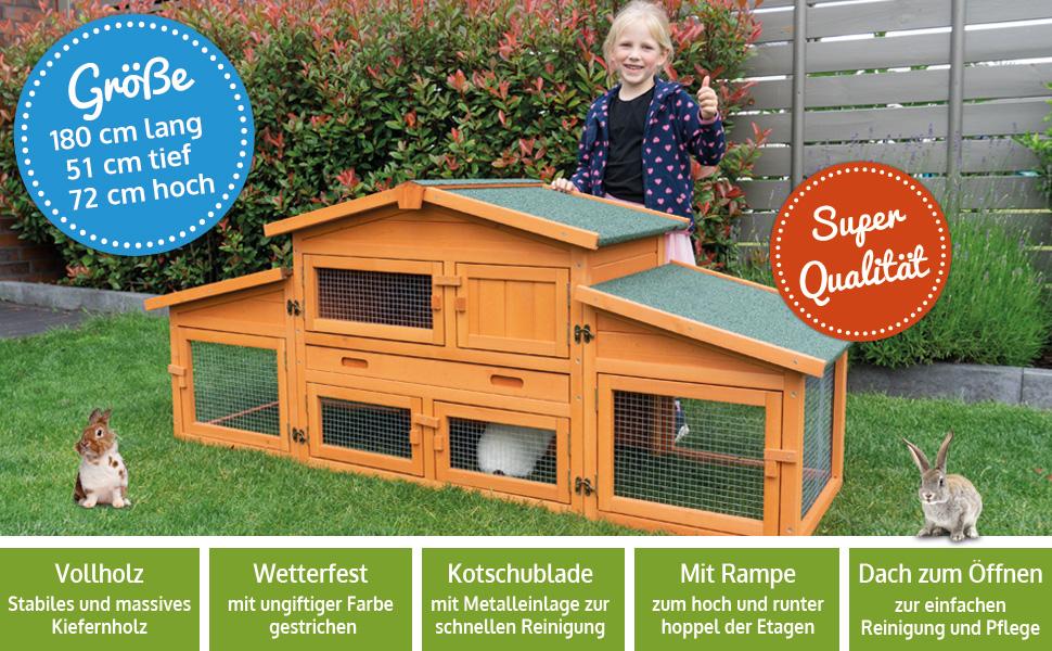 zooprinz Kaninchenstall Hasenstall mit Auslauf groß xxl Königstall mit Schublade, dach zum öffnen