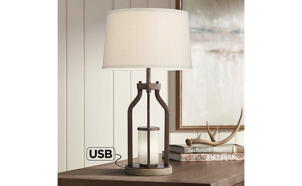 Will Bronze Table Lamp with USB Port and LED Night Light