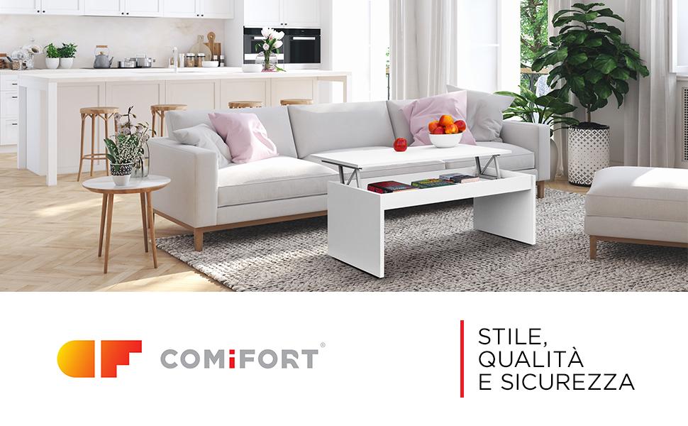 Moderno Ecologico Elegante Tavolino da Salotto Funzionale con Gran capacit/à di Contenimento COMIFORT Tavolino Sollevabile Estensibile Molto Resistente Colore Bianco 2 Gambe