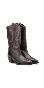 Vintage Foundry Co. Trudy Women's Western Brown Leather Studded Ankle Boots