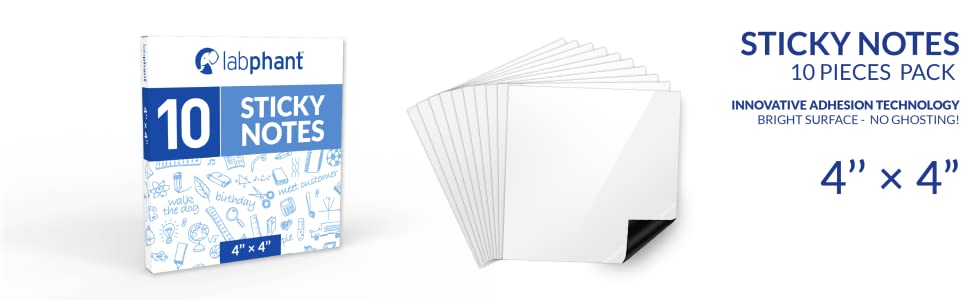 Dry Erase Sticky Notes - 10 Pack of 4x4 Inch