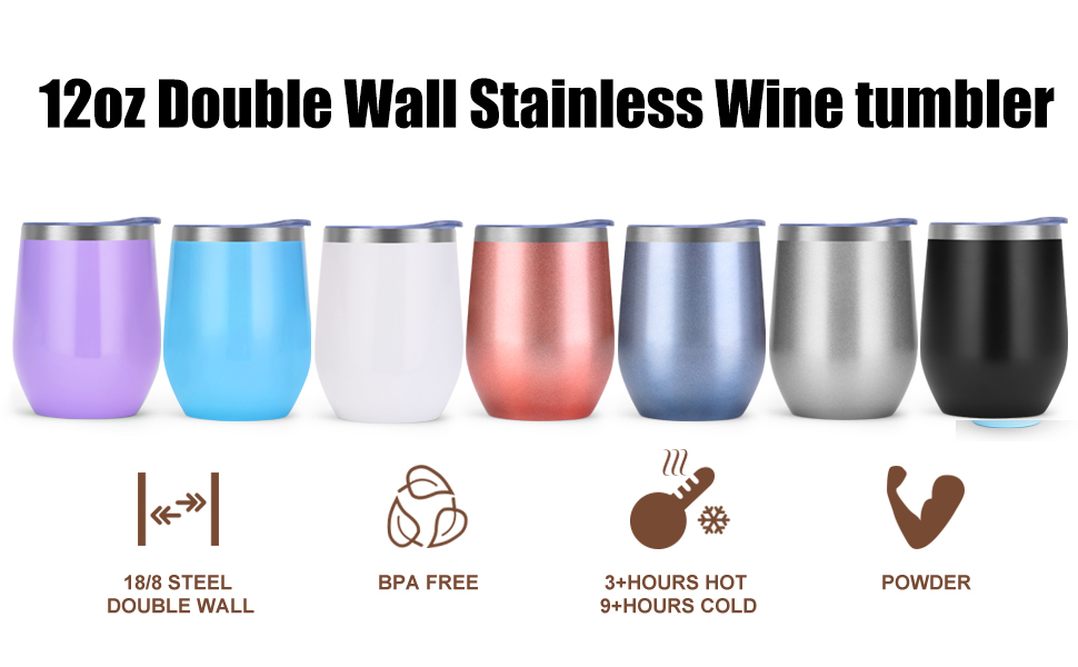 NEWBEA 12 oz Wine Tumbler with Lid, Double Wall Vacuum Insulated Stemless  Glass, Stainless Steel Wine Cup Perfect for Wine, Coffee, Drinks,  Champagne,