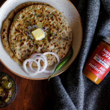 parantha indian breakfast potato chilli chutney peanut butter happy jars
