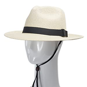 chin strap adjustable fit secure floppy brim panama straw hat