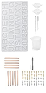 letter number resin mold measuring cups wood stir stick pipettes screw eye pin Hand Twist Drill
