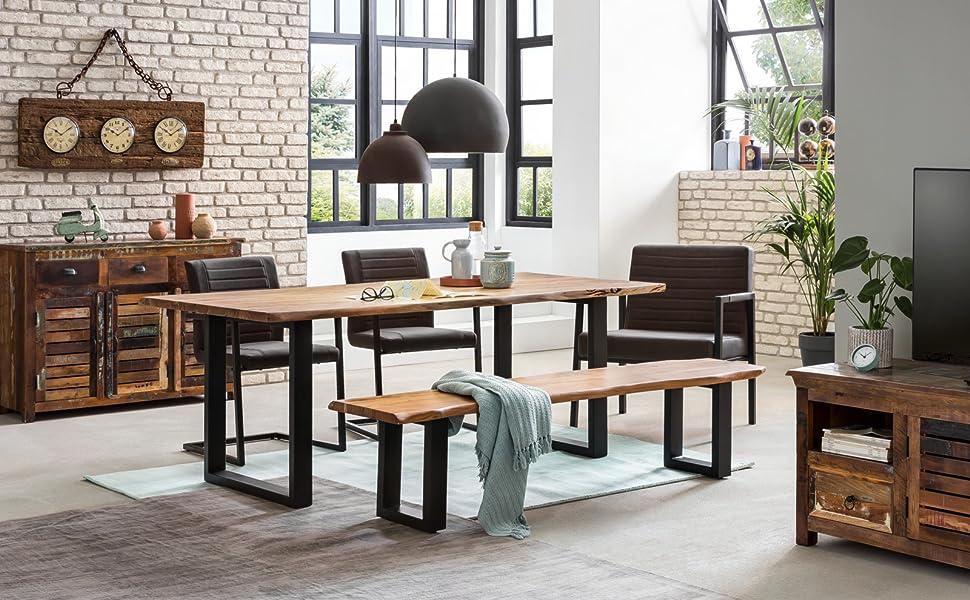 Woodkings® Esstisch Bullwer Holz Akazie braun, Tisch mit Baumkante, Baumtisch, Echtholz modern, Design, Massivholz, Esszimmermöbel, Wohnmöbel (200 x
