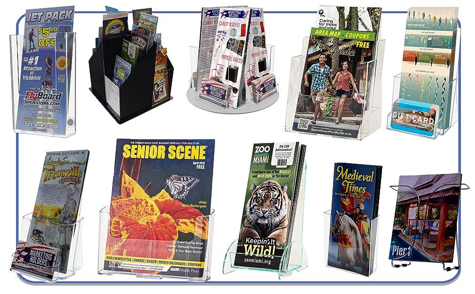 Marketing Holders Acrylic Literature Display Stands Tri Fold, Bi Fold or Catalog Racks