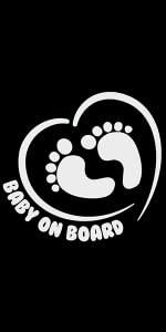 TOTOMO Baby on Board Sticker Funny Cute Safety Caution Decal Sign for Cars Windows and Bumpers Footprint ALI-036