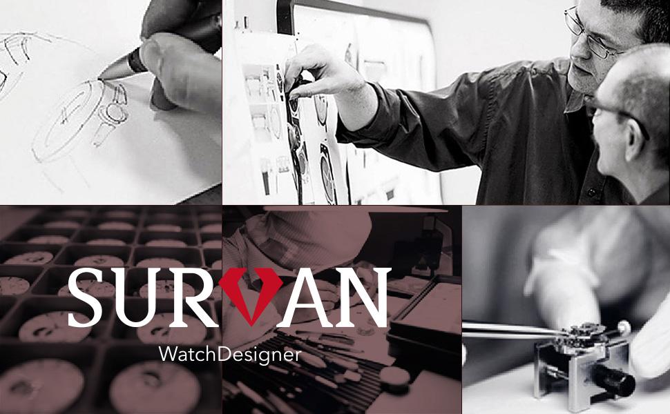 SURVAN WatchDesigner Men's Automatic Dual Time Zone Mechanical Skeleton Watch Genuine Leather Strap