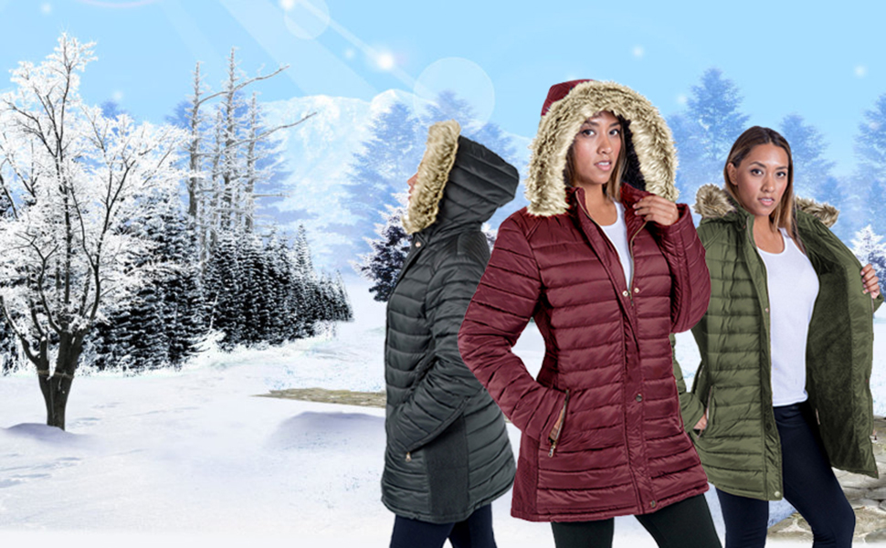Women Down Jacket with Faux Fur Hoodie Thickened Slim Long Warm Winter Quilted Coat