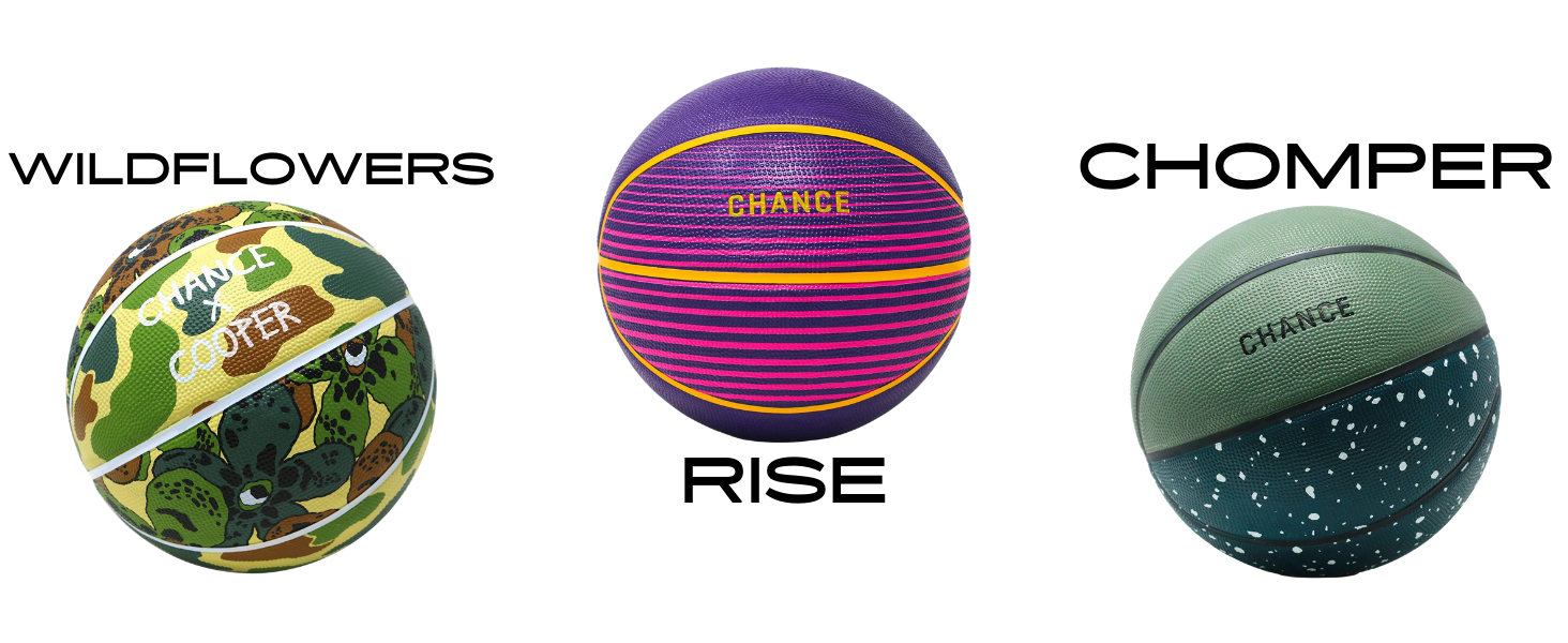 Wildflowers, Rise, and Chomper Basketballs