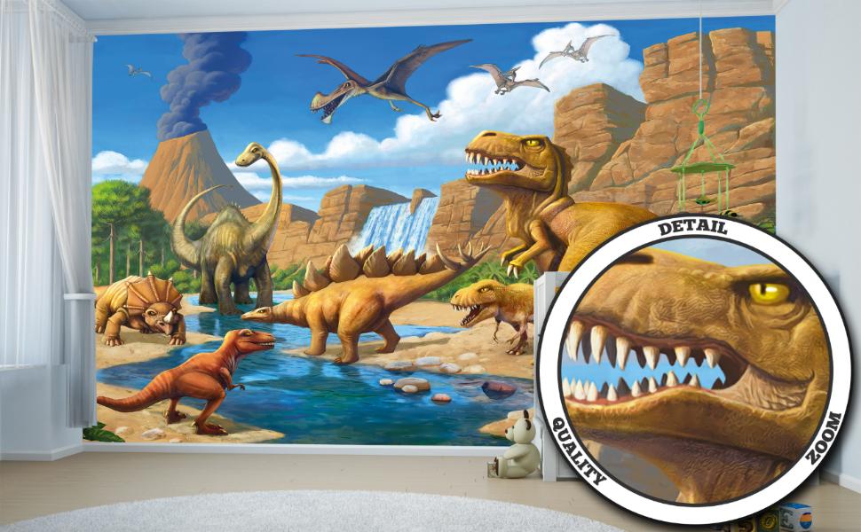 GREAT ART Mural De Pared Cuarto De Los Niños – Dinosaurios