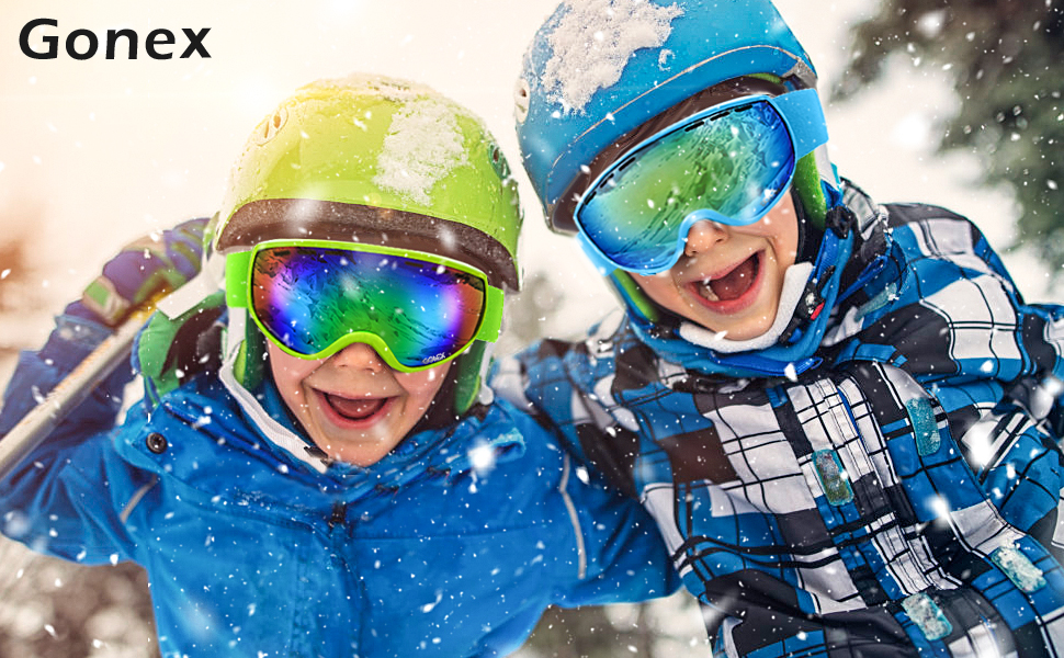 Gonex Masque de Ski de Snowboard Enfant Lunette de Neige Protection UV400