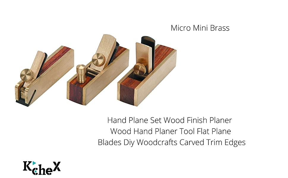 Micro Mini Brass Hand Plane Set Wood Finish Planer Wood Hand Planer Tool Flat Plane Blades Diy