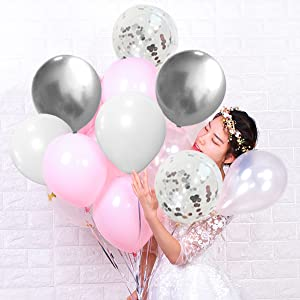 helium quality pink silver balloons