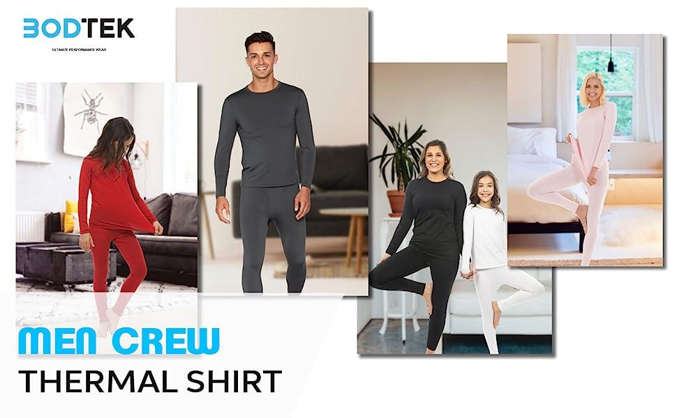 Bodtek Mens Thermal Underwear Shirt Premium Fleece Lined Long Sleeve Baselayer Top