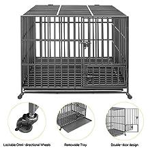 Pet Cage with Crate Tray and Wheels Strong Metal Pet Playpen  Indoor Outdoor Pet Playpen