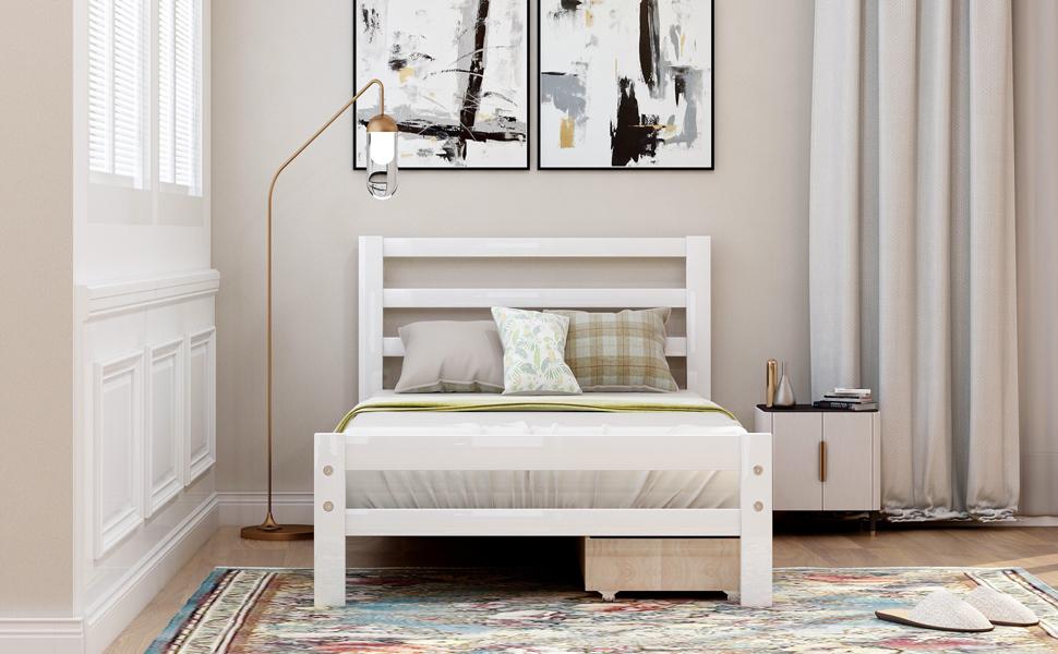 Wood Platform Twin Bed