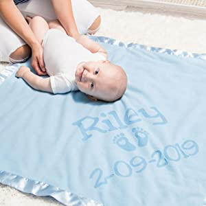 mom and baby on blue blanket customized with name and date