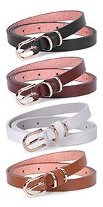 Womens Skinny Belt Set of 4
