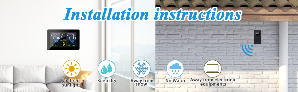 No direct sunlight Keep dry Away from snow  Away from electronic equipments