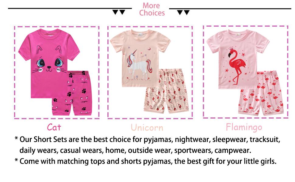girls pyjamas short pyjamas giraffe cat unicorn summer pyjamas toddler pyjamas kids pyjamas