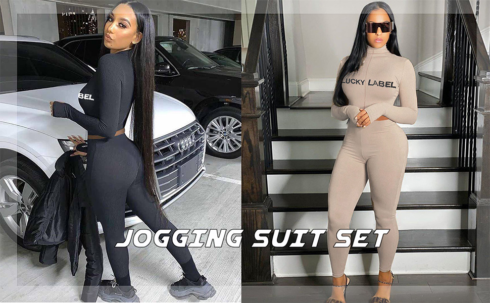 Long Sleeve Ribbed Crop Top Women 2 Piece Outfits Sweatsuit Set Skinny Long Pants Tracksuit Jogger Set