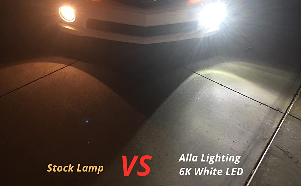Comparison Halogen 55W H11 Fog Light VS Alla Lighting 6K White LED Bulbs