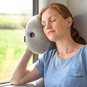 ostrich pillow mini travel pillow for airplane head support travel accessories for hand and arm rest power nap on flight and desk sleepy blue