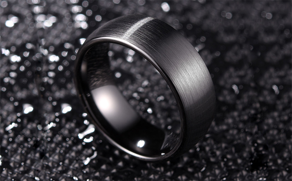6mm meteorite inlay rings