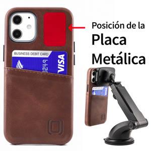 Dockem - Funda tipo cartera para iPhone 12 mini (piel sintética, 2 ranuras), color marrón