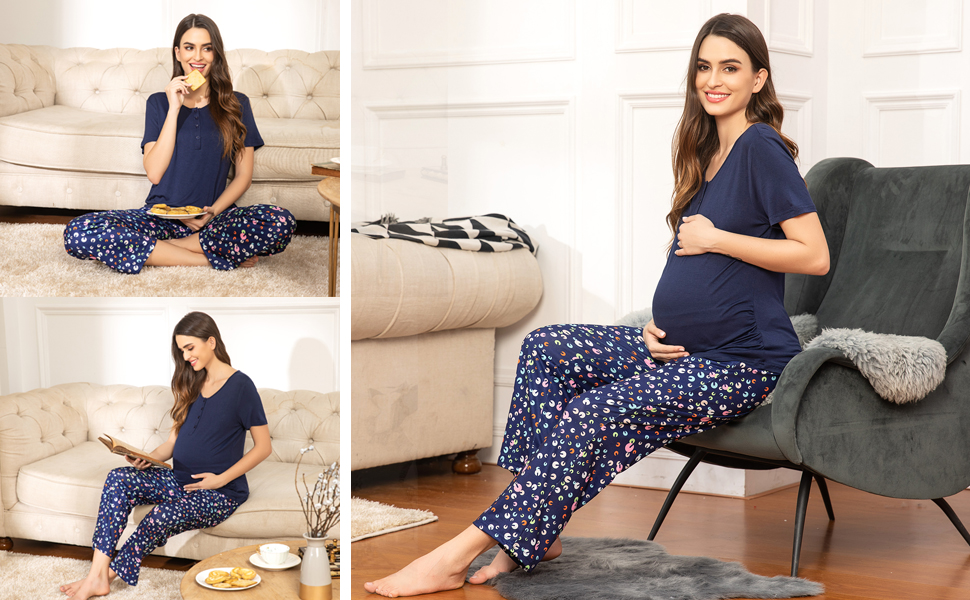 maternity pajamas nursing sleepwear breastfeeding
