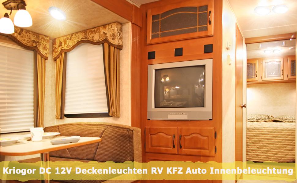 Kriogor Led Innenbeleuchtung Auto 12v 48led 600lm Rv Kfz Beleuchtung Deckenleuchten Mit On Off Schalter Universal Für Camping Auto Rv Lkw Wohnwagen Wohnmobil Boot Auto