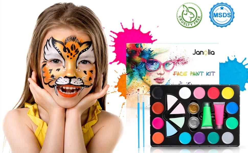 Janolia 18 Colors Pintura Facial, Pintura Corporal con 14 Colores Normales, 2 Fluorescentes y 2 Purpurinas, Maquillaje para Cuerpo Profesional, Colorantes Naturales y Seguros para Niños y Adulto: Amazon.es: Juguetes y juegos