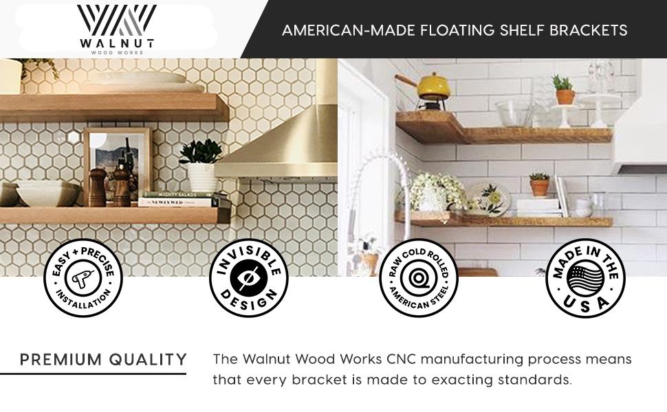 Floating Shelf Brackets, Walnut Wood Works, American Made, Solid Steel, Hidden Shelf Brackets