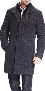 BGSD Men's Derek Herringbone Wool Blend Bibbed Walking Coat