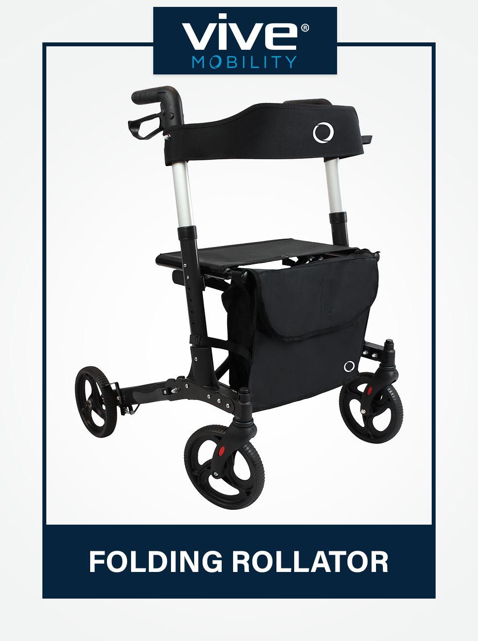 Vive Mobility Folding Rollator Walker 4 Wheel Medical Rolling Walker with Seat amp; Bag - Mobility Aid